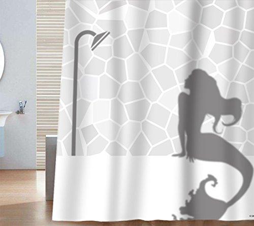 Sunlit Design Mermaid in Bath Shadow Silhouette Quality Fabric Shower Curtain