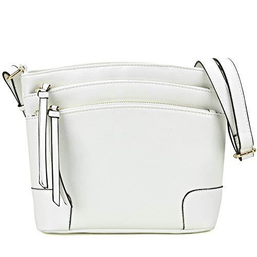 Women Large Capacity Multi Pockets All-In-One Crossbody Messenger Bag with Tassel White