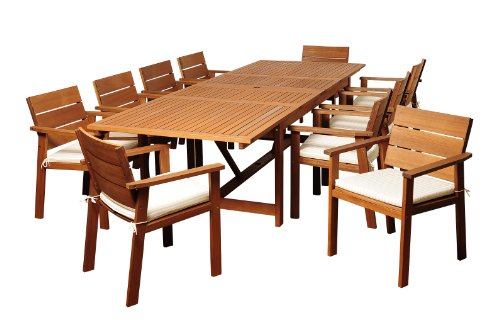 Brampton pc Eucalyptus 11 Piece Patio Dining Set, Brown ()