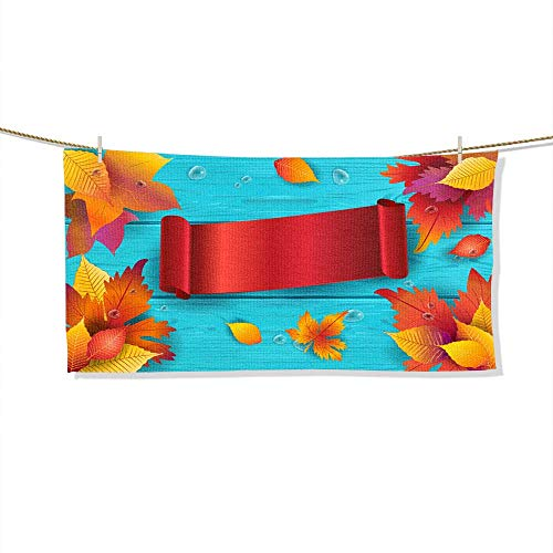 FootMarkhome Microfiber Beach Towel Autumn Thankgiving Holiday Wallpaper Soft, Quick Dry, Absorbent, Size:27.6
