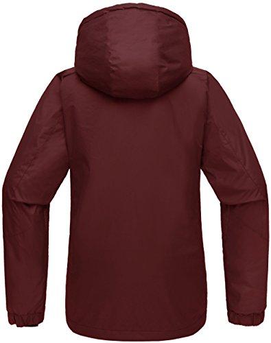Antivento Vino Cappuccio Rosso Donna in Giacca da Sci Impermeabile Wantdo Pile aT6g0qHnw