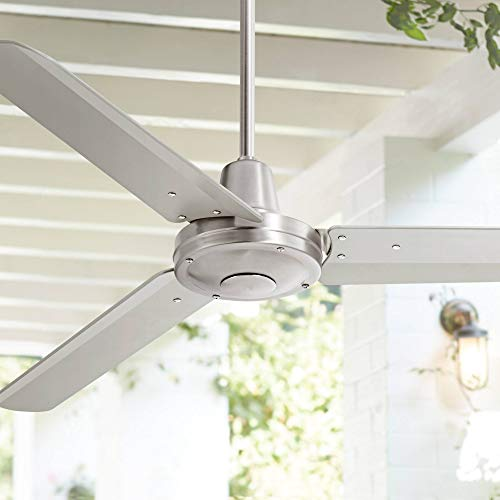52 Plaza Modern Industrial Outdoor Ceiling Fan with Remote Control Brushed Nickel Damp Rated for Patio Porch – Casa Vieja