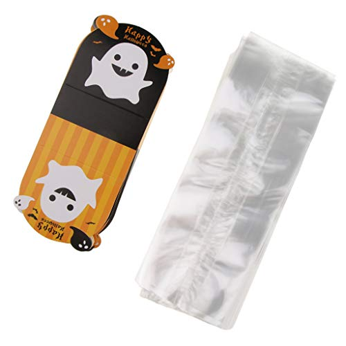 MagiDeal 100 Set Happy Halloween Ghost Biscuit Cookie Candy Gift Bag Party Favor - B