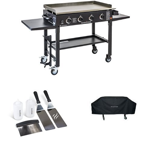 utdoor Flat Top Gas Grill Griddle Station - 4-burner - Propane Fueled - Restaurant Grade - Professional Quality - With Cover and Accessory Kit ()