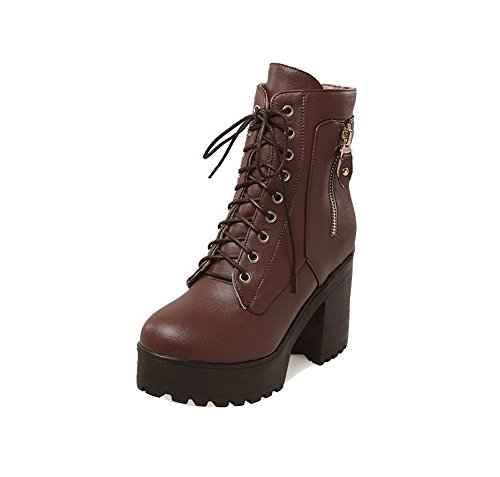 WeenFashion Women's Lace-Up Round Closed Toe High Heels PU Low-Top Boots, Brown, 34 ()