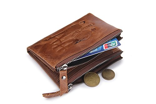 Mini Wallet with Purse Coin Male Leather Men Card Bag Cowhide Brown Contacts Genuine 2 Holder q7wPYWC