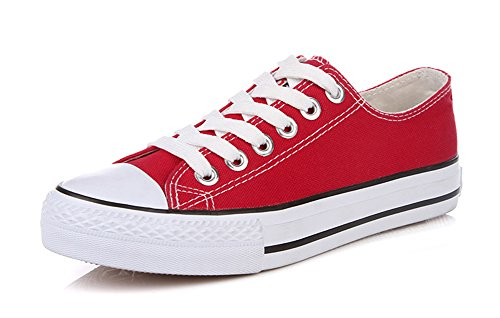 (Aisun Women's Classic Casual Round Toe Lace Up Low Top Skateboard Platform Flat Canvas Sneakers Shoes (Red, 8 B(M) US))