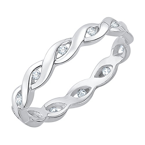 Diamond Eternity Band in Sterling Silver (1/8 cttw) (GH-Color, I2/I3-Clarity) (Size-9) by KATARINA