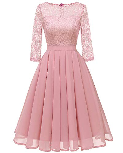 - Women's Lace Midi Dress Sheer Long Sleeves Skirt A Line Chiffon Homecoming Dresses Blush Pink M