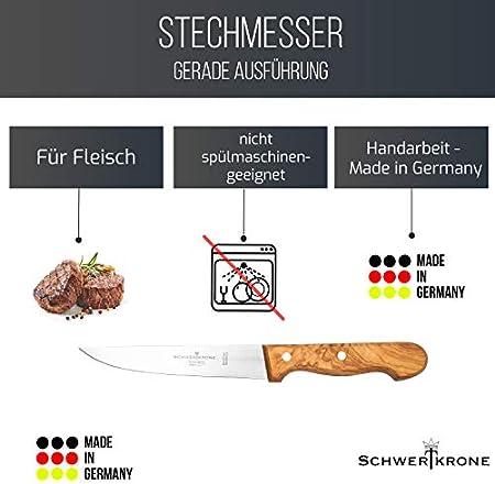Schwertkrone Cuchillo de carne, mango de madera de olivo, cuchillo multiusos, cuchillo jamonero (cuchillo jamonero – 15 cm)
