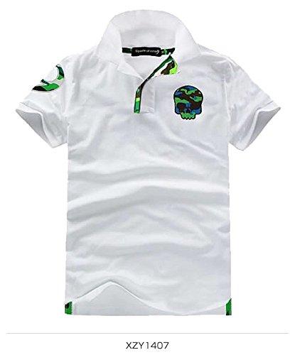 (スカルシリーズ) ポロシャツ スカル ドクロ SKULL 半袖 鹿の子 ゴルフウェア スカルグリーン カモフラ 迷彩 XZY1407SL