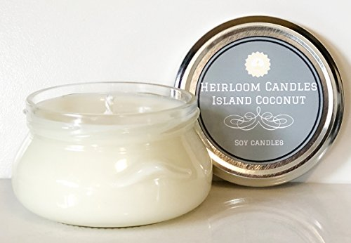 Coconut Scented Soy Candle - Tropical Island Coconut - Handmade Glass Jar, 6oz