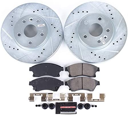 Max Brakes Front Performance Brake Kit Fits: 2014 14 2015 15 Chevy Cruze GAS Engine Models w//276mm Front Rotor KT140831 Premium Slotted Drilled Rotors + Ceramic Pads