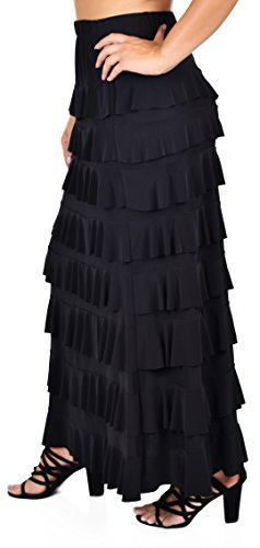 Dare2BStylish Women Waterfall 8 Tiered Boho Layered Maxi Skirt | Reg & Plus Sizes - Skirt Long Ruffle