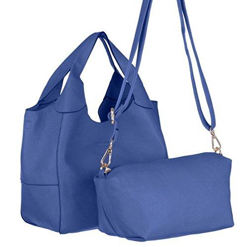 Blanco Store - Borsa Donna 2 in 1 Borsetta manici corti e pochette con tracolla staccabile Blu