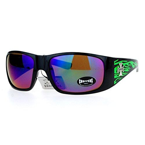 Choppers mirrored Color Lens Hot Rod Flaming Arm Biker Warp Sunglasses - Guys Glasses Hot