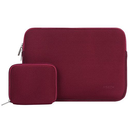 Hseok 13-13.3 Inch Laptop Sleeve Case, Water-Resistant Sleeve with Small Case for MacBook Air/Pro Retina Late 2012-2016,[Internal Dimensions: 13.6 x 9.65 x 0.79] Wine Red