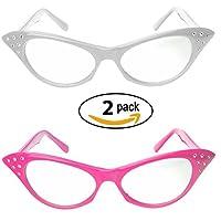 Gafas de ojo de gato con diamantes de imitación - Gafas retro de los años 60 de los años 60 (paquete de 2) (Gafas de ojo de gato rosa y blanco)