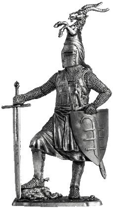 German knight (13th century) Tin Toy Soldiers Metal Sculpture Miniature Figure Collection 54mm (scale 1/32) (M223)