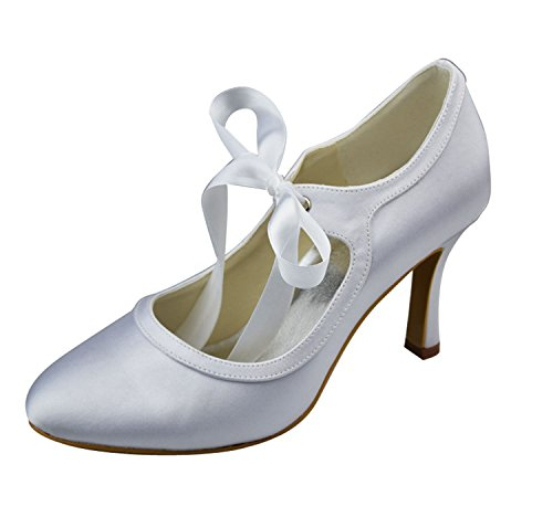 Minishion Womens Round Toe High Heel Ribbon Mary Jane Lace Bridal Wedding Shoes Pumps Satin/White-9cm Heel vrCfa7