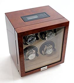Heiden Vantage Quad Watch Winder with LCD in Burlwood