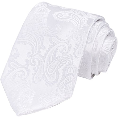 - KissTies White Tie for Men Paisley Necktie Wedding Tie + Gift Box