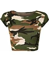 Girls Walk Women's Army Camouflage Print Short Stretch Vest Crop Top