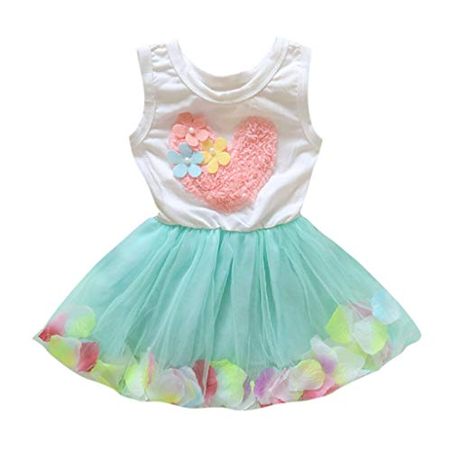 Girl Dress Princess Toddler Kids Baby Flower Lace Heart Sleeveless Tulle Tutu Multi Layer Party Clothes Green