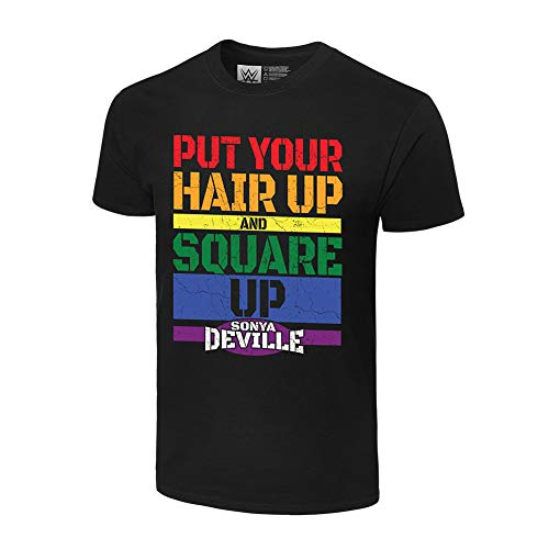 WWE Authentic Wear Sonya Deville Square Up Pride Collection T-Shirt Black Medium