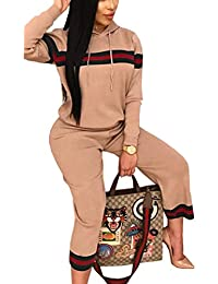 Women's 2 Pieces Casual Outfit Set Drawstring Striped Hoodie+Ninth Pants Sweatsuits Tracksuits Jumpsuits