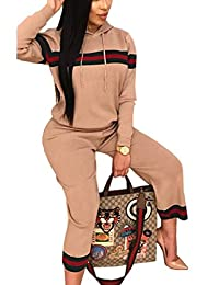 Women's 2 Pieces Outfit Drawstring Striped Hoodie+Ninth Pants Sweatsuits Tracksuits