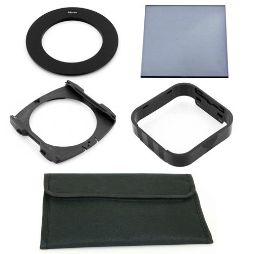 58mm Ring Adapter + Full ND2 Filter + Wide Holder + Hood + 4 Pocket Pouch for Cokin P