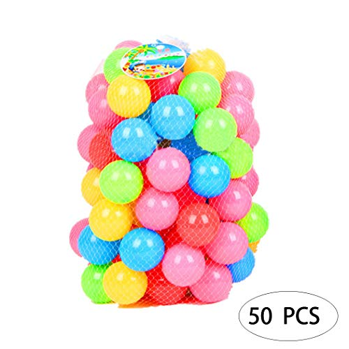 Soft Kids Play Pits Ball – Non Toxic, Phthalate Free BPA Free Crush Proof Plastic Ball & No Sharp Edges Indoor for Baby or Toddler Ball Pit, Kiddie Pool, 50 Balls by Nessere