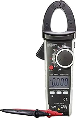 VOLTCRAFT Digital Clamp Meter VC585; CAT III 600 V, Multimeter Functions, 4000 Counts, True RMS Readings, Compact and Robust, Including Test Leads K-Type Thermocouple and Batteries