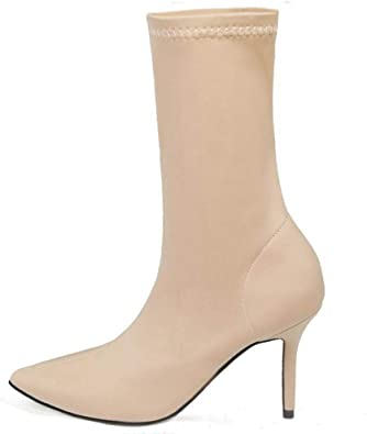 The rest of my life Women Shoes Mid Calf Boots Stretch Fabric Thin High Heel Pointed Toe Sock Boots Women Boots Size