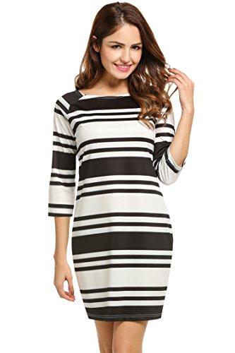 Buy black 3/4 sleeve boat neck dress - 9
