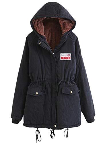 Hooded Fitted Womens Slim Split Length Lamb Parka Coat Wool Casual Mid Black Back EKU XTBx8T