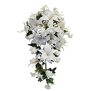WHITE Roses Lilies Cascade Bridal Bouquet Silk Wedding Flowers Arch Decorations 11
