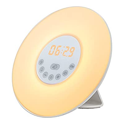 Wake up Light Alarm Clock with Sunrise Simulation Night Light Bedside Lamp Nature Sounds, FM Radio and Touch Control