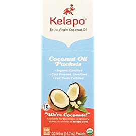 Kelapo Extra Virgin Coconut Oil 92 Pack of ten, 0.5-ounce pouches of Kelapo cold pressed, 100% organic Extra Virgin Coconut Oil. In Nutrition facts Total calories may 120 or 121. 100% natural and unrefined; free of trans fats; vegetarian Individually packed in convenient, single-serving pouches of one-tablespoon each