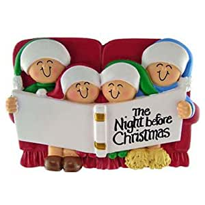 """Night Before Christmas"" - Family of 4 - Ornament Decor"