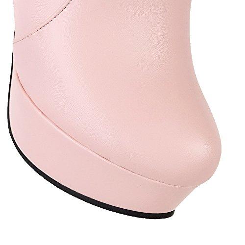 AllhqFashion Mujer Material Suave Cremallera Puntera Redonda Tacón Alto Sólido Botas Rosa