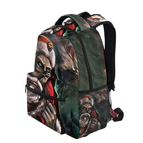 (KVMV Dead Santa Town His Rein Deers Lightweight School Backpack Students College Bag Travel Hiking Camping Bags)