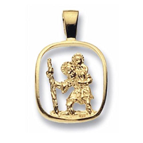 Or 9ct Saint-Christophe découpé Pendentif sur un collier de Belcher