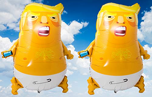 Baby Trump Balloons (2 Pack) - Premium foil balloons including inflation straw and ribbon - 60 x 70 cm