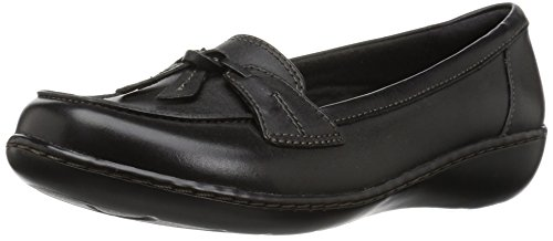 CLARKS Women's Ashland Bubble Slip-on Loafer, Black Leather, 10 W US by CLARKS