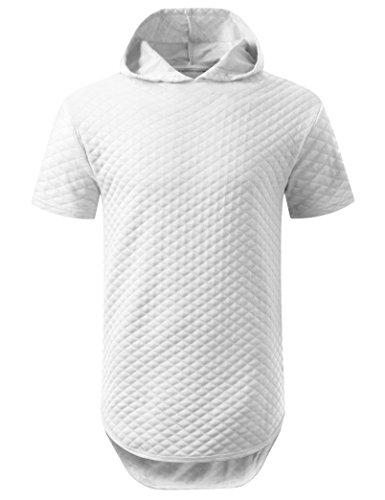 URBANCREWS Mens Hipster Hip Hop Quilted Short Sleeve Hoodie Shirt White, (Hip Hop Hoodie)