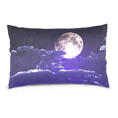 DOMIKING Halloween Clouds Moon Print 100% Cotton Velvet Pillowcase with Hidden Zipper for Skin and Hair Health, Queen Size (20