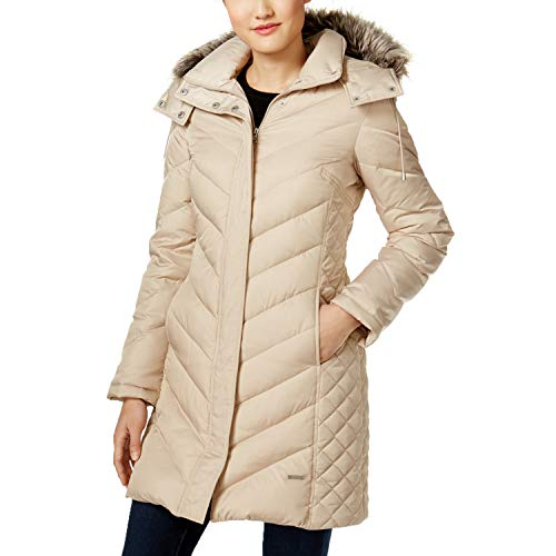 Kenneth Cole Quilted Coat - Kenneth Cole Ladies' Faux-Fur-Trim Down Chevron Puffer Coat (Thistle, Medium)