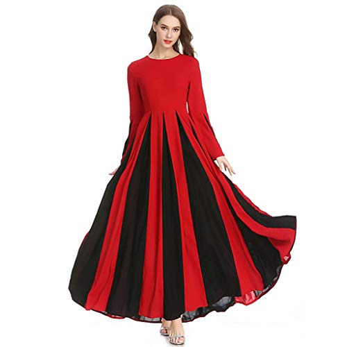 Sayhi Muslim Women's Stitching Slim A-line Pleated Dress Temperament Lady Dress Gowns Robe for Party Occasion(Red,S)